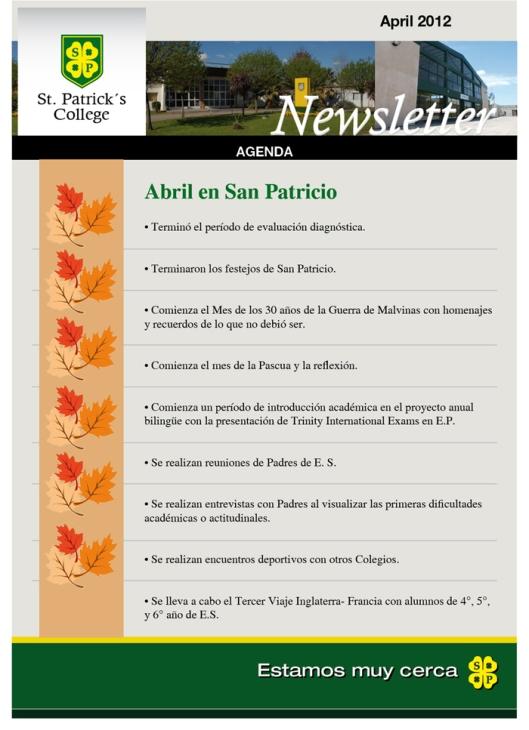 Newsletter Abril Colegio San Patricio