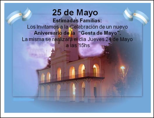 Invitaci n 25 de mayo colegio san patricio for Decoracion 25 de mayo nivel inicial