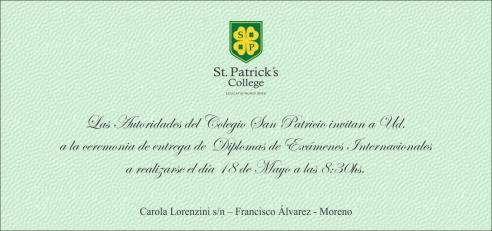 Invitación a la Entrega de Diplomas Internacionales