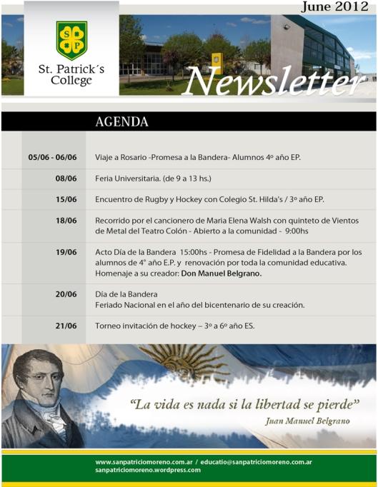 CALENDARIO DE ACTIVIDADES JULIO San Patricio