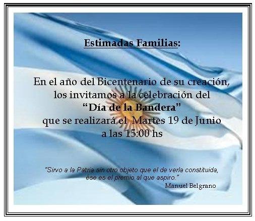 Invitación Día de la Bandera | Colegio San Patricio