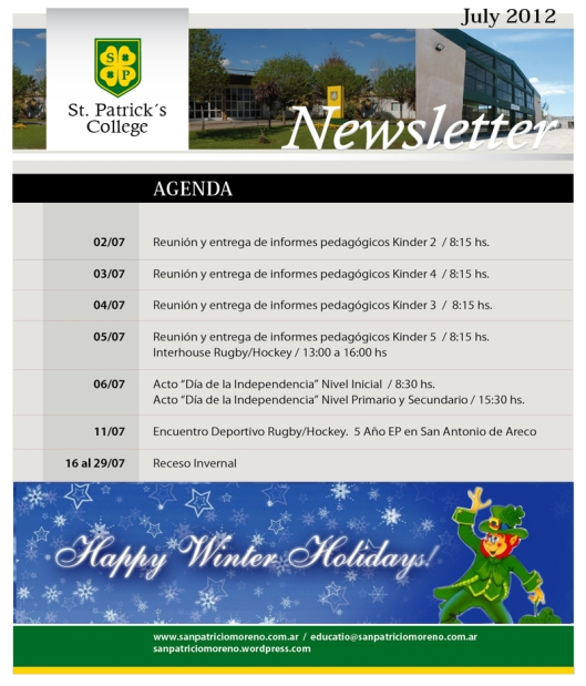 Newsletter de Julio Colegio San Patricio