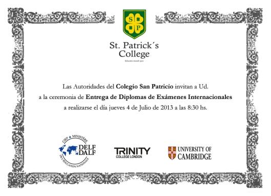 Diplomas Exámenes Internacionales San Patricio