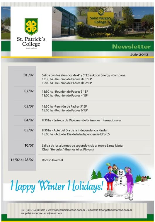 Newsletter Julio 2013 San Patricio