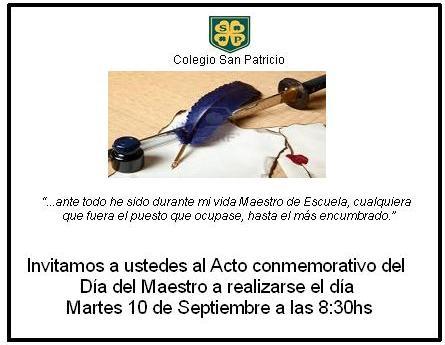 Invitación Día Del Maestro Colegio San Patricio
