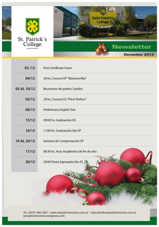 Newsletter Diciembre San Patricio 2013