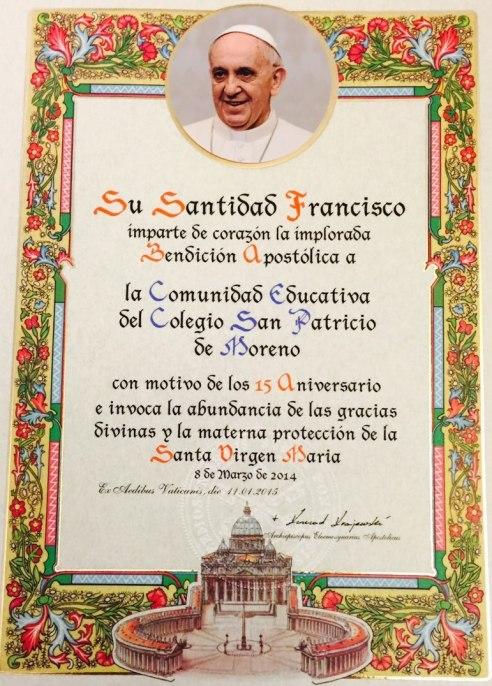 Francisco bendice a San Patricio