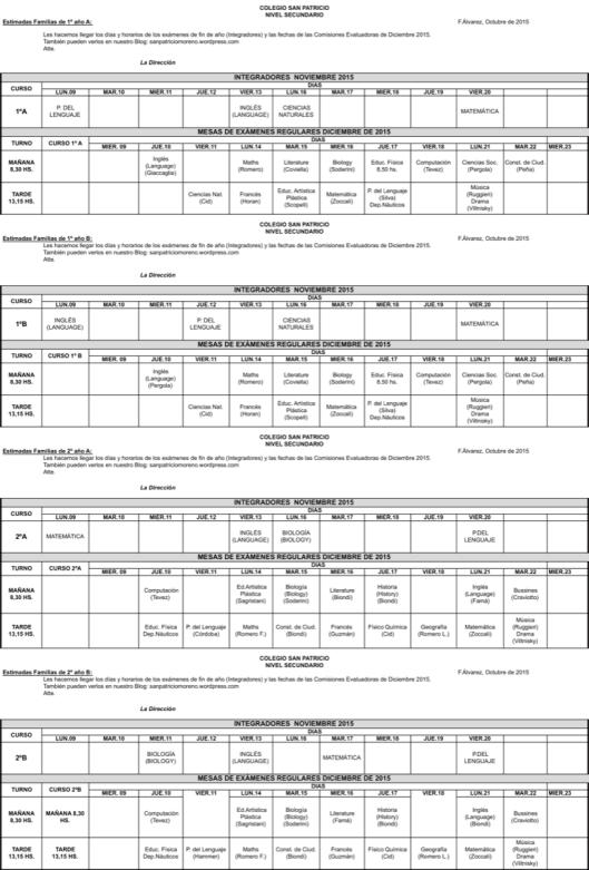 Mesas de Exámenes 1º y 2º ES