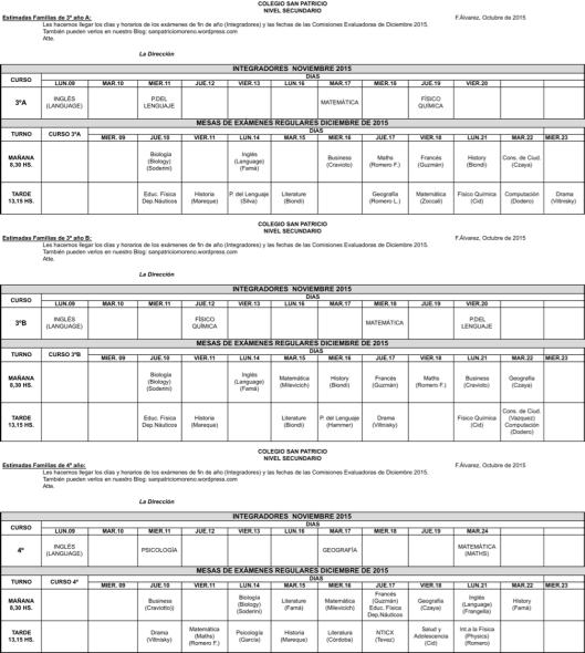Mesas de exámenes 3º y 4º
