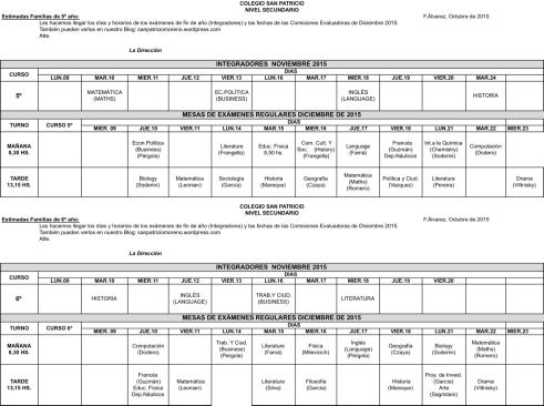 Mesas de Exámenes 5º y 6º